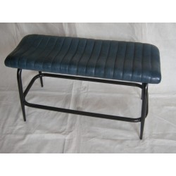 Blue Leather Bench