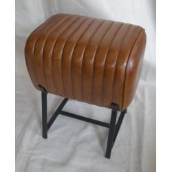 Brown Leather Stool - Metal...