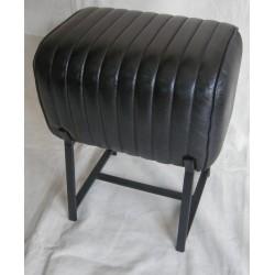 Black Leather Stool - Metal...
