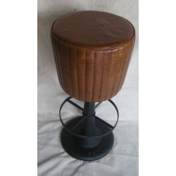 Brown Round Leather Bar Stool