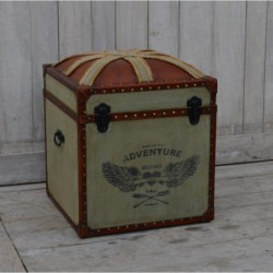 Canvas & Leather Trunk -...