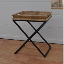 Wooden Side Table with Tray