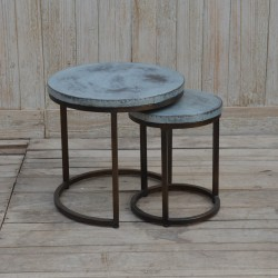 Set of Two Wooden and Iron Coffee Tables
