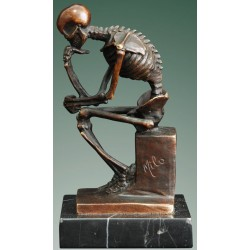 Bronze skeleton in the style of Rodin's Thinker