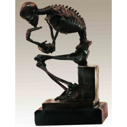 Bronze Skeleton in the style of Rodin's 'Thinker'