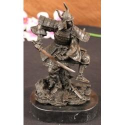 Bronze and Marble Japanese Samurai Warrior