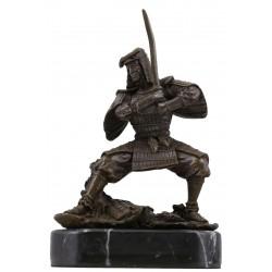 Bronze sculpture of a Japanese samurai Warrior