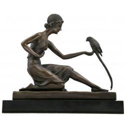 Bronze Art Deco lady 'Parrot Girl'
