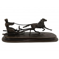 Bronze Russian Man in Sleigh pulled by Horse