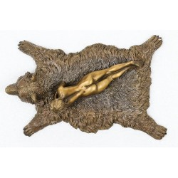 Bronze Woman on Bearskin rug