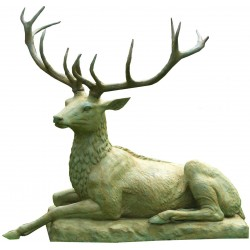 Bronze sculpture of recumbent Stag.