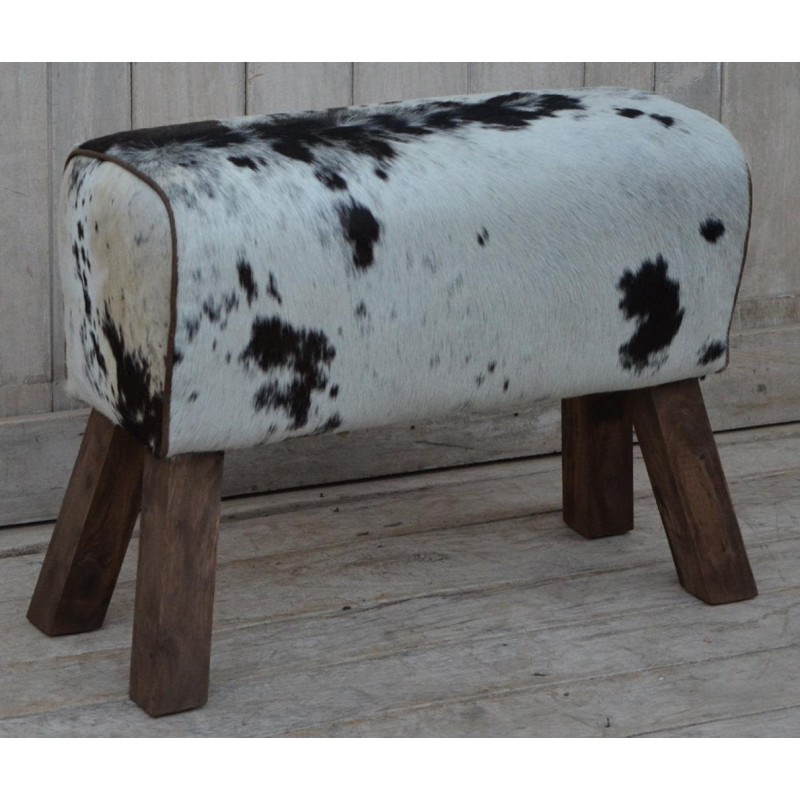 Cowhide Hair on Leather Bench / stool