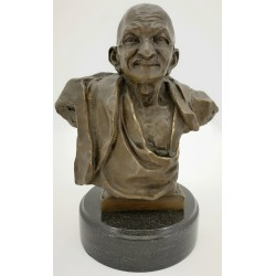 Bronze bust sculpture of Mahatma Gandhi