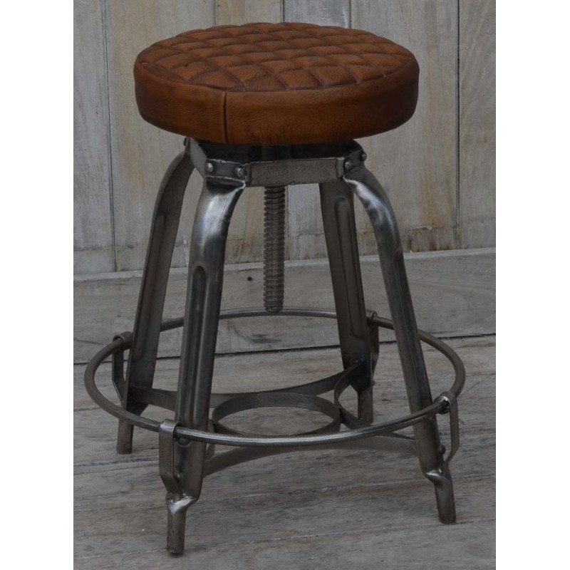Industrial Style Metal Stool Cushioned Quilted Leather