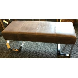 Brown Leather bench -...