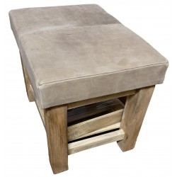 Grey Leather and wood stool