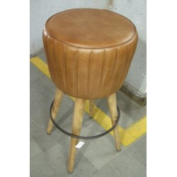 Brown Leather bar stool - wooden legs