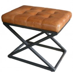Brown Leather stool - X leg frame