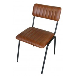 Brown ribbed Leather dining chair