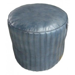 Leather round Pouffe - Blue