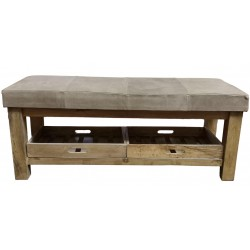 Grey Leather and wood bench