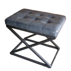 Blue / Grey Leather stool