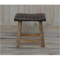 Wooden Stool with Leather Top