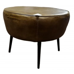 Brown Leather round Stool / footstool
