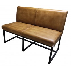 Brown Leather dining bench - 123 cm
