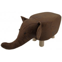 Brown Elephant faux Leather stool / footstool