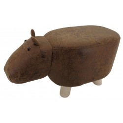 Brown Hippo faux Leather stool / footstool