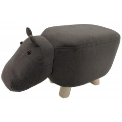 Grey Hippo faux Leather stool / footstool