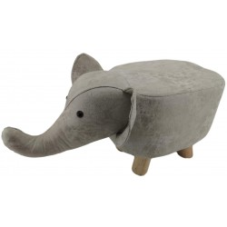 Grey Elephant faux Leather stool / footstool
