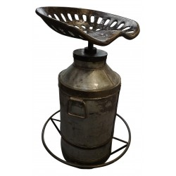 Vintage recycled bar stool / chair - Milk Churn