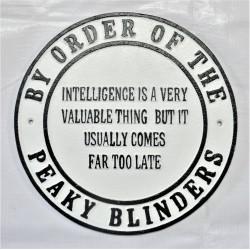 Cast Iron Peaky Blinders Sign - Intelligence
