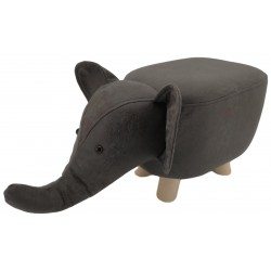 Dark Grey Elephant Faux Leather stool / footstool