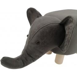 Dark Grey Elephant Faux Leather stool / footstool