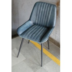 Blue Leather Dining Chair -...