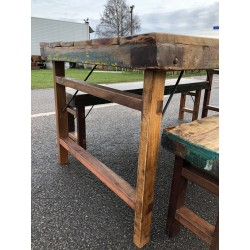 Reclaimed Wooden Table and two benches