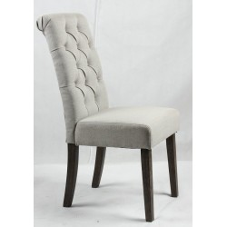 Button back upholstered chair - Dark Brown legs