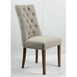 Button back upholstered chair - Brown legs