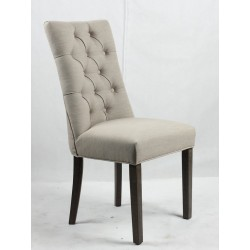 Button back upholstered chair - dark Brown brushed wooden legs
