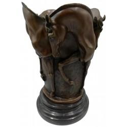 Bronze vase / planter - Four Horses