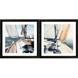 set of two framed acrylic wall art - sailing Yacht