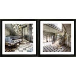 Set of 2 Framed acrylic wall art - Mansion with grand piano