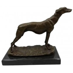 Bronze Greyhound / Whippet on solid Marble base