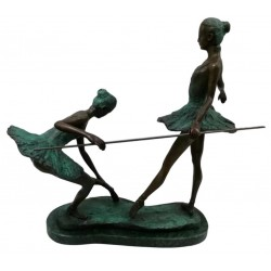 Bronze sculpture - Two Ballet dancers on solid Marble base