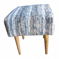 Mango Wood and Fabric Pouffe