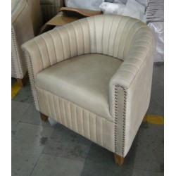 Leather Armchair - Light Grey
