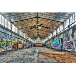 Glass wall art - Warehouse Graffiti
